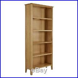 Large Oak Bookcase Tall Shelving Unit Solid Wooden 5 Display Book Shelves Alba