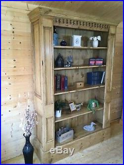 Large Rustic reclaimed solid waxed pine wooden bookcase cabinet shelving unit