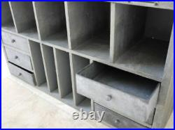 Large Storage Cabinet Wooden Pigeon Hole Vintage Industrial Style Freestanding