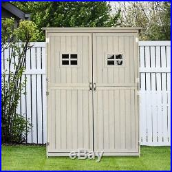 Lean-To Tool Shed Wooden Garden Cabinet Raised Storage Unit Shelves Double Door
