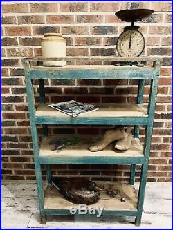 Lovely Blue French Farmhouse Painted Rustic Wooden Shelving / Storage Rack