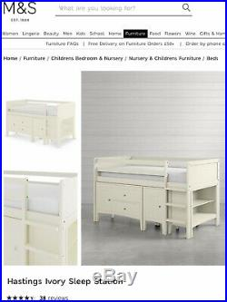 M&S White Wooden Hastings Cabin Bed With Desk, Drawers And Shelving Unit