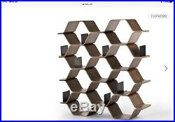 Made Polygon wooden shelving unit In Walnut Finish