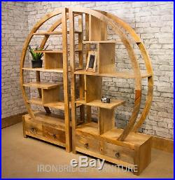 Mantis 2 Part Solid Natural Mango Wood Arched Room Divider Bookcase with Drawers