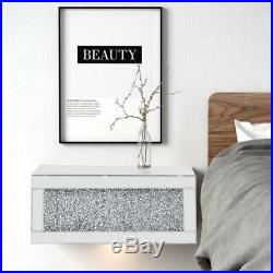 Mirrorred Glass Wall Shelf with Drawer Storage Bedside Cabinet Unit Floating