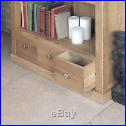 Mobel Solid Oak 3 Drawer Large Bookcase Wide Wooden Bookcase with Four shelves