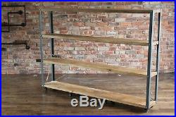 Modern Industrial Style Shelf Unit with Rustic Wooden Shelves & Metal Frame