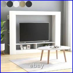 Modern TV Cabinet Stand Unit Wooden Media Storage 2 Compartments &6 Side Shelves