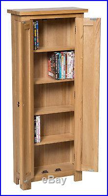 Oak Dvd Cd Storage Cabinet Solid Wood Cupboard Rack Tower Unit With 5