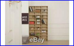 Oak Tall Wooden Bookcase Shelving Unit CD DVD Large Book Storage Cabinet Room