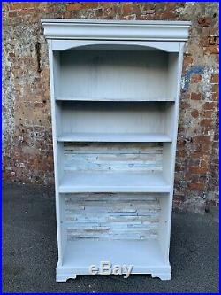 Painted White Shabby Chic Large Solid Wooden Bookcase Open Shelves Unit