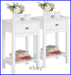 Pair Bedside Tables Tall White Wooden Units Storage Drawer Open Shelf Set Of 2