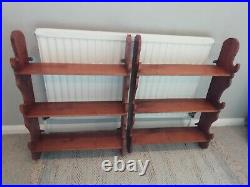 Pair Of Beautifully Crafted Wooden Wall Hung Shelving Units Arts And Crafts