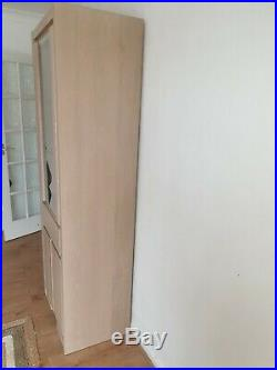 Pair of Tall Wooden Display Glass Cabinet Shelving Bookcase Door Units