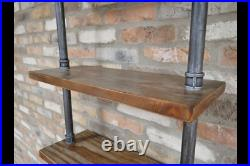 Pipe Wall Shelves Wooden Display Racking Storage Shelving Unit 6 Tier Industrial