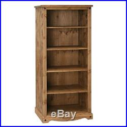 Premium Corona Large Open Bookcase Display Unit Waxed Mexican Pine
