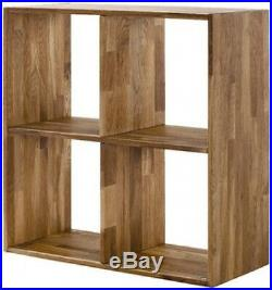 Quality Solid Oak 4 Cubes Unit Wooden Small Display Cabinet Shelf Bookcase New