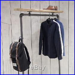 Reclaimed Industrial Scaffold Pole and Scaffold Board Clothes Hanging Rail