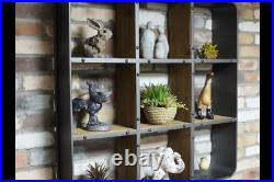 Retro Industrial Wall Unit 9 Wooden Compartments Hanging Multi Shelf Storage New