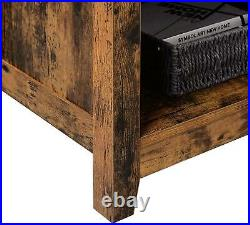 Retro TV Stand Wooden Unit Vintage Rustic Brown 4 Open Storage Display Shelves