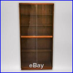 Retro Vintage 60s 70s Wooden Display Cabinet with Glass Doors and 5 Shelves
