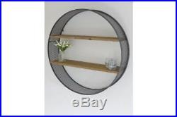 Round Retro Industrial Wall Mounted 2 Wooden Shelves Urban Storage Shelving Unit