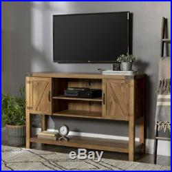 Rustic TV Stand Cabinet Furniture Country Wooden Storage Unit 2 Cupboars Shelves