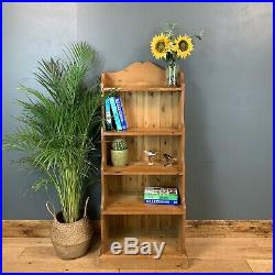 Rustic Vintage Sml Waterfall Bookcase Shelves Shelving Storage Pine Wooden Unit