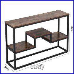 Rustic Wooden Bookshelf Display Stand Console Table Industrial Style Furniture