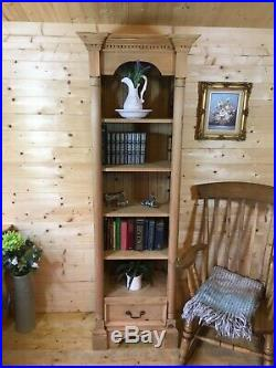 Rustic solid pine wooden Tall ornate bookcase display shelving unit