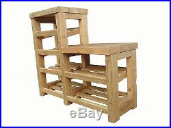 Rustic wooden shoe rack with seat and telephone table, wooden bench, side table