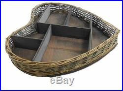 Shabby Chic Large Wicker Heart Shape Wooden Display Shelves Wall Storage Unit