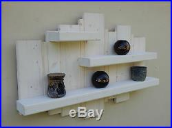 Shelf Wooden White Wash Lime Wax Shelving Distressed Shabby Chic Unit Display
