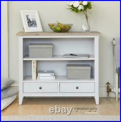 Signature Modern Grey Wooden Low Storage Bookcase 2 Draweres & 2 Shelves