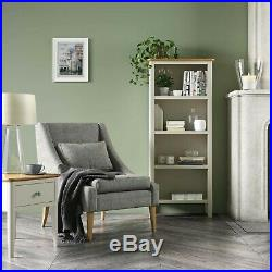 Slim Tall Bookcase Oak Top Cream Painted Wooden Living Room Furniture Windsor