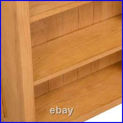 Small Solid Oak Bookcase Brown Storage Book Bookshelf Rustic Wooden Shelves Wall
