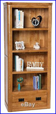 Solid Oak Large Bookcase Tall Wooden Storage Bookshelf Unit with Drawer
