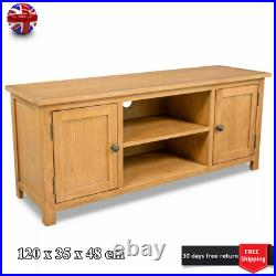 Solid Oak TV Unit Stand Wooden Television Media Cabinet With Shelves 2 Door New