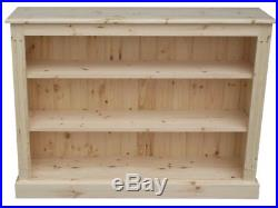 Solid Pine Bookcase 3ft X 4ft Low Adjustable Display