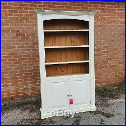 Solid Wooden White Painted Book Case Shelving Unit with Cupboard