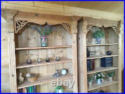 Solid pine wooden pair bookcases x 2 dresser display shelving unit cabinets