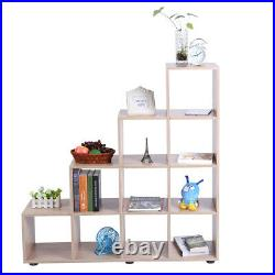 Step Style Storage 10 Cube Shelf Bookcase Wooden Display Stand Staircase Unit