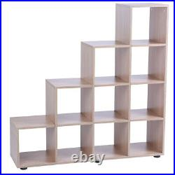 Step Style Storage Cube 10 Shelf Bookcase Wooden Display Staircase Unit Shelving