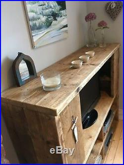 TV Television Unit Cabinet Stand Wooden Rustic Reclaimed Wood Shelving Handmade