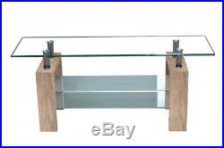 TV Unit / Stand With Tempered Clear Glass Top, 2 Glass Shelves And Wooden Legs
