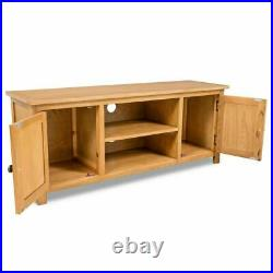 TV Unit Stand Wood Television Wooden Media Cabinet With Shelves 2 Door Solid Oak