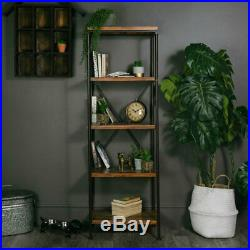 Tall Industrial Shelves Slim Shelving Unit Display Stand Wooden Bookcase Rack