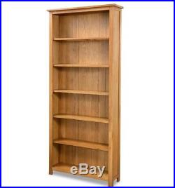 Tall Oak Bookcase Solid Wood Furniture Rustic Shelving Unit Large Wooden Cabinet