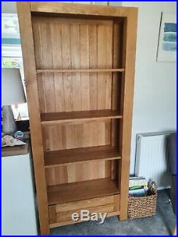 Tall Solid Oak Bookcase Large Rustic Furniture Shelving Unit Wooden Book Storage