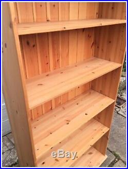 Tall Solid Wooden Bookcase 5 Shelves Carved Pelmet Living Room Office GC